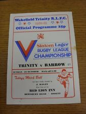 19/10/1980 Rugby League Programme: Wakefield Trinity v Barrow (Slight Mark On Fr