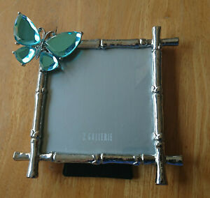 Z Gallerie Blue Butterfly Jeweled Frame Silver Metal New