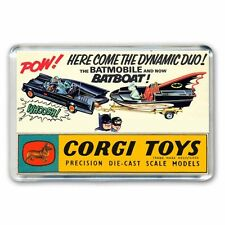 RETRO - 60's  BATMAN CORGI BATMOBILE BATBOAT ADVERT - JUMBO FRIDGE MAGNET