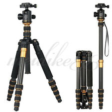Q666C Portable Travel Carbon Fiber Tripod Stand With Ball Head For DSLR Camera