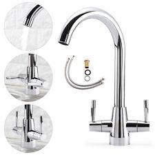 Modern Kitchen Sink Mixer Taps Swivel Spout Dual Lever Tap Mono Chrome Faucet