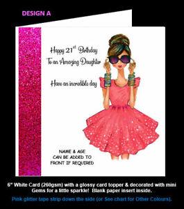 Girlie Birthday Card (21st, 18th, any) Girls Birthday, Daughter Sister Niece etc