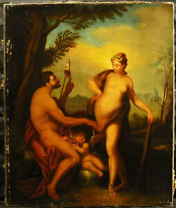 Hercules And Omphale Queen Lydia Hercules Xvii / 18th Oil on Canvas Painting