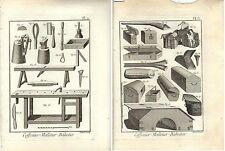 Stampa antica PRODUZIONE BAULI CESTE 2 FOGLI Enciclopedia Diderot 1783 Old print