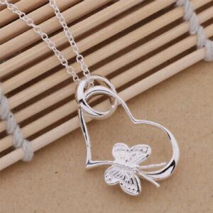 925 Silver Plated beautiful cute women Butterfly HEART Necklace charm jewelry