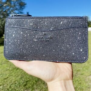 Kate Spade Large Slim Card Holder Zip Wallet Organizer Lola Glitter Dusk Navy