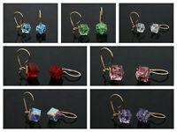 9ct Gold Hook Drop Dangle Earrings Crystal Cube 7mm