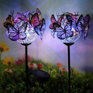 2X Solar Powered LED Butterfly /Firework Stake Lights Garden Yard Outdoor Lamp