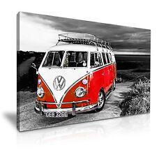 Red VW Camper Van Vintage Campervan Canvas Wall Art Picture Print 76x50cm