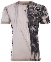 AFFLICTION Mens T-Shirt WALKING DEAD Skulls SAND Tattoo Motorcycle Biker $58 NWT