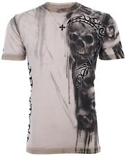 AFFLICTION Men T-Shirt WALKING DEAD Skulls Tattoo Motorcycle Biker UFC Jeans $58