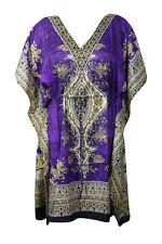 Boho Chic Purple Printed Dress Cruise Caftan Loose Beach Cover up Dresses 3XL