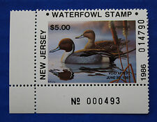U.S. (Nj03A) 1986 New Jersey Nonresident State Duck Stamp (Mnh) Plate # single