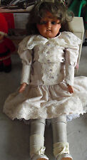 "Rare Big Antique Schutz Marke Germany Leather Celluloid Girl Doll 22"" Tall"