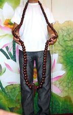 Big Large Chinese Tibetan Buddhist Wood Mala 108 Prayer Bead Necklace Kung Fu #R