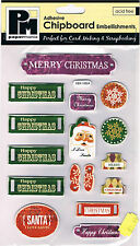 Papermania chipboard shapes Santa Christmas joy Xmas adhesive tags snowflakes
