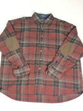 Pendleton 100% Wool Trail Plaid Shirt Men's Large Flannel Leather Elbow Patch