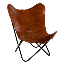 Farfalla SEDIA DESIGN BUTTERFLY Chair Marrone 75x75x87 cm in pelle