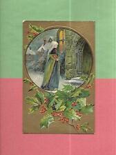 WOMAN CARRIES BIBLE TO CHURCH On Beautiful Vintage 1910 CHRISTMAS Postcard