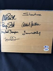 Lakers Showtime Multi Autographed Floor Board Magic, Jabbar, Worthy PSA & BAS