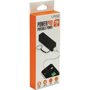 Urge Powerpro Keychain 2000mAh Portable Power Bank External Battery Black
