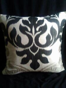 """Black Ikat designer cushion cover measuring 18""""x18""""square"""