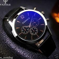 YAZOLE Military Men's Stainless Steel Leather Sport Analog Quartz Wrist Watches