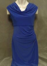 Women's CATO  Sleeveless Knit Dress-Size 6 Cascading Drape Straight Lined Blue