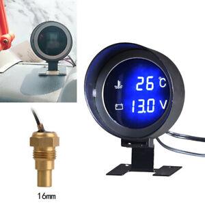 12V/24V Car Digital Meter Water Temperature Gauge w/16MM Sensor Holder Universal