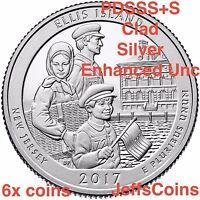 2x 2017 P/&D/&S Ellis Island NJ NY National  Park Quarter 6x Mint PDS ATB Low Cost
