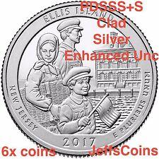 2017 PDSSSS Ellis Island Quarters Clad & 90% Silver Proof + 225th Enhanced Unc S