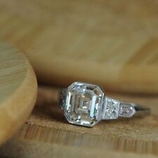 Certified 2.9CT Vintage White Asscher Cut Diamond Engagement Ring 14K White Gold