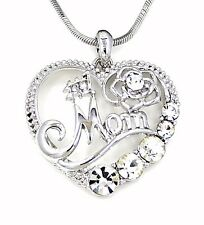 "Charm Pendant Silver 20"" Necklace Mother #1 Mom Heart Rose Austrian Crystal"