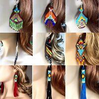 Native Style Handmade Long beaded Drop/Dangle chandelier big Hook Earrings