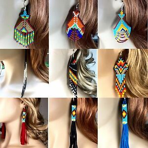 Native Style Handmade Long beaded Drop/Dangle chandelier big Hook Earrings