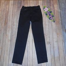 Ana SUI Sz 28 Black Silver Button Zipper Pockets Straight Leg Jeans
