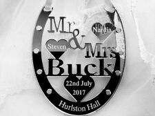 Personalised Lucky Wedding Keepsake Bridal Mr & Mrs Good Luck Horseshoe Gift