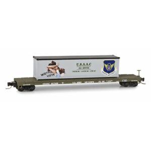 Micro Trains Z 60 Steel Flatcar w/40' Container Load USAAC Wistful Vista 667468