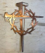 Square Spike Cross w/Thorns Rustic Copper Patina Finish Metal Wall Art Hanging