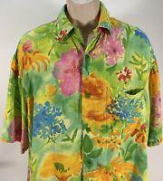 Jams World Mens Large Summer Garden Rayon Hawaiian Aloha Camp Button Front Shirt