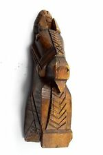 Genuine Antique Indian hand carved solid wooden horse head sculpture. G62-92 Us