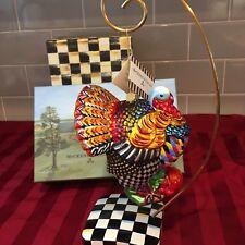 MacKenzie-Childs Turkey Glass Christmas Ornament Nib!