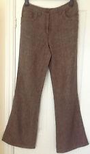 Ladies WRAP Linen Brown/Grey Trousers Size 10 Long