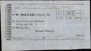 185x Newtown Connecticut (CT) Receipt Newtown Military Tax Mr. Samuel W. Miller