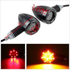 2 Pcs Dual Color Motorcycles LED Amber Signal Lights Indicators Red Brake Lamps