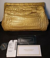$1125.00 NANCY GONZALEZ GENUINE CROCODILE GOLD CLUTCH PURSE HANDBAG SAKS 5th AVE