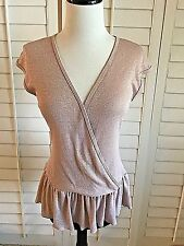 Trina Turk Small Mauve Pink Metallic Top Faux Wrap Deep V Neckline GREAT