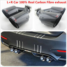 Car 100% Real Carbon Fibre exhaust muffler tip 63mm in 89mm out Hot Dual Pipes