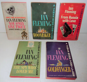 5 Ian Fleming James Bond books from the 1960's You Only Live Twice Moonraker