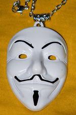 """Vendetta Mask Necklace White BIG Drama V Face Pendant Charm 25"""" Silver Chain NEW"""